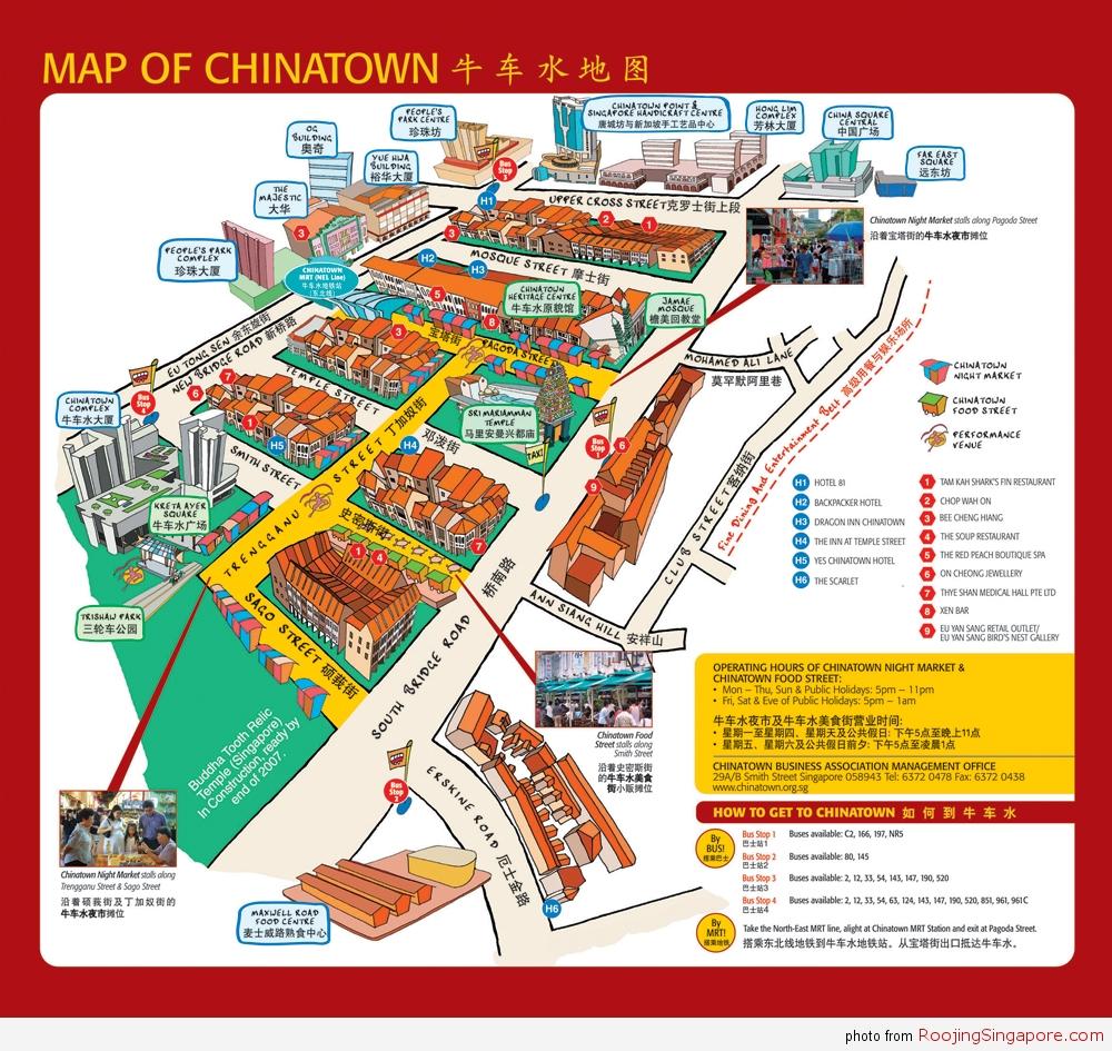 แผนที่ท่องเที่ยวไชน่าทาว Singapore